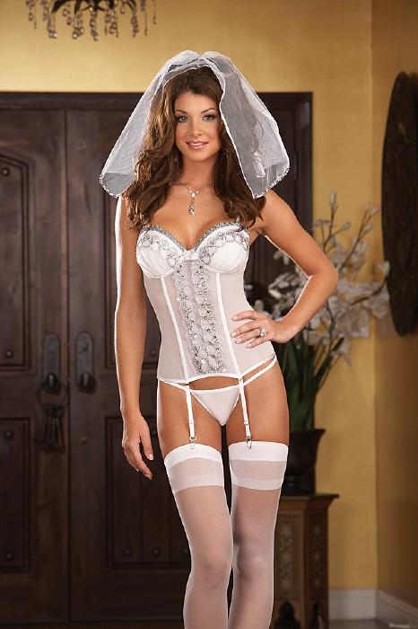 Corset para bodas blanco con liguero